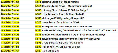 NSRS email titles