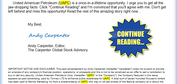 UAPC Disclaimer